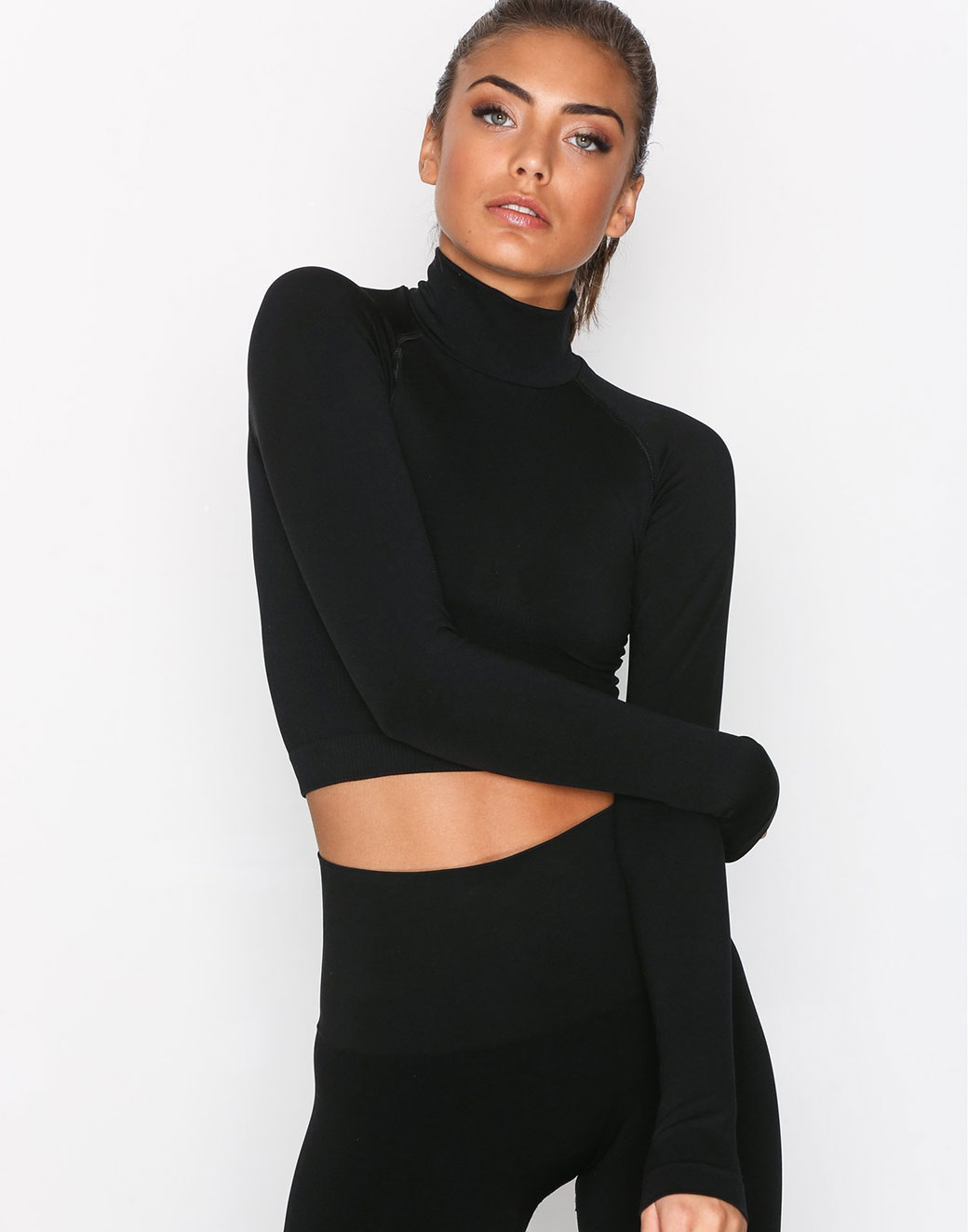 LS Cropped Polo Gym Top 2
